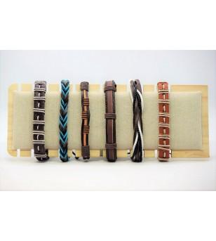 Set 6 Bracelets Cuir
