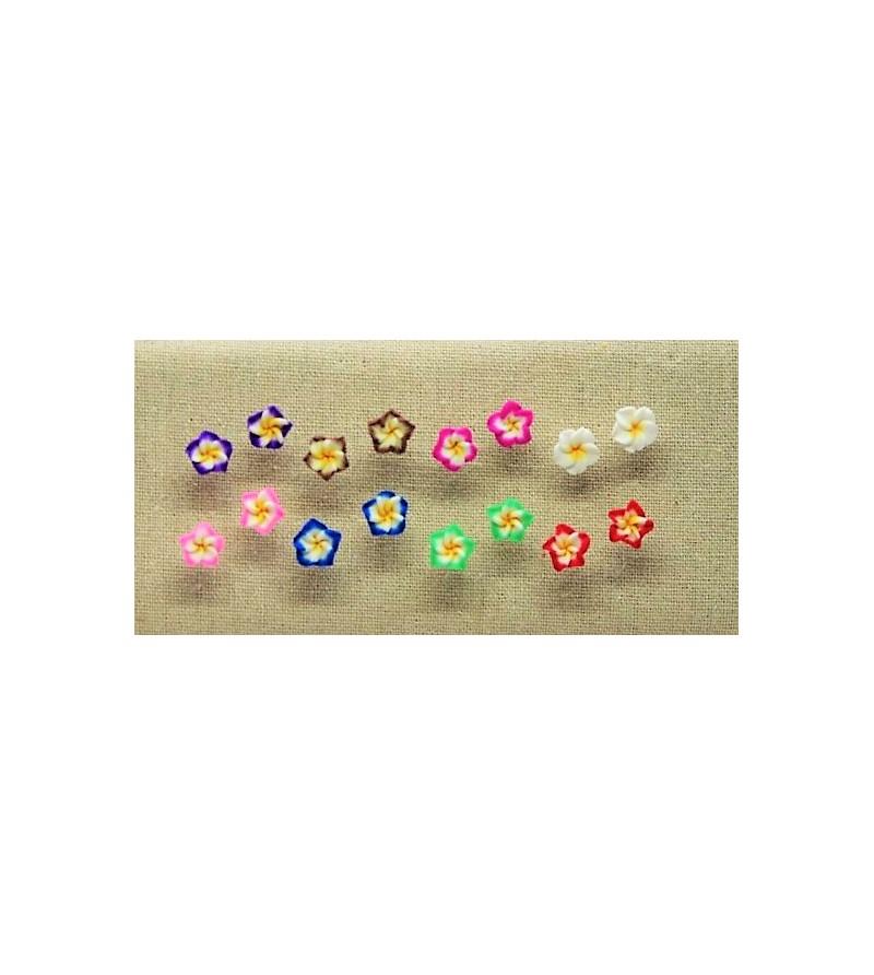 Lot 8 Paires Boucles D'oreilles Fleurs Pâte Fimo