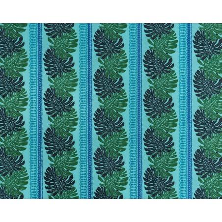 Tissu au Mètre Monstera Bleu65% Polyester - 35% Cotton Largeur 110 cm