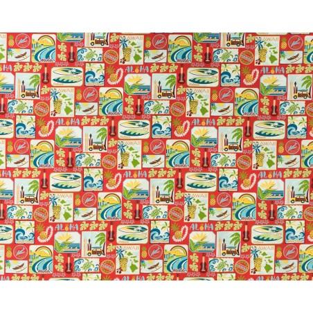 Tissu au Mètre Aloha Red 100% Cotton Largeur 110 cm