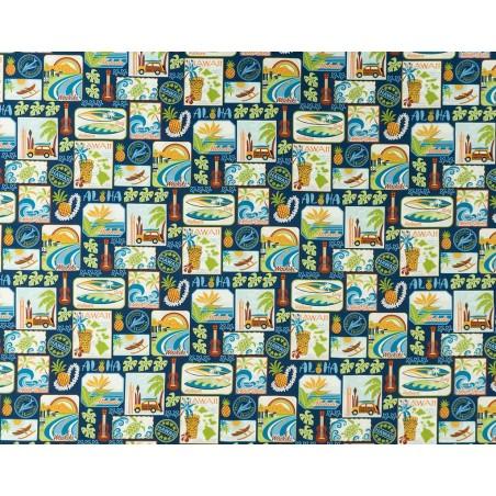 Tissu au Mètre Aloha Royal 100% Cotton Largeur 110 cm