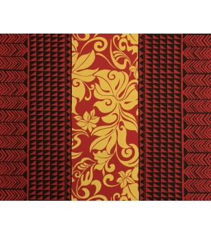 Tissu au Mètre Tatoo Monstera Red 65% Polyester - 35% Cotton Largeur 110 cm