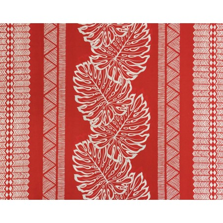 Tissu au Mètre Monstera Fidji Red 65% Polyester - 35% Cotton Largeur 110 cm