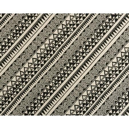 Tissu au Mètre Samoan Tatoo Black Cream65% Polyester - 35% Cotton Largeur 110 cm