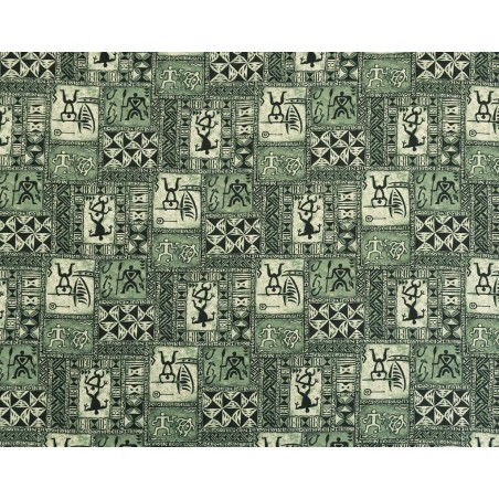 Tissu au Mètre Hawaiian Petroglyphe Green 100% Cotton Largeur 110 cm