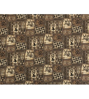 Tissu au Mètre Hawaiian Petroglyphe Brown100% Cotton Largeur 110 cm
