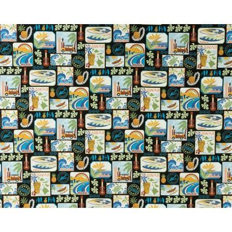 Tissu au Mètre Aloha Black 100% Cotton Largeur 110 cm