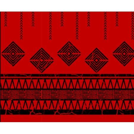 Tissu au Mètre Vintage Tatoo Red Black 65% Polyester - 35% Cotton Largeur 110 cm