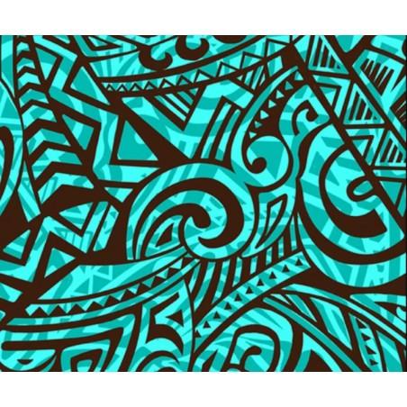 Tissu au Mètre Double Tatoo Turquoise Black 65% Polyester - 35% Cotton Largeur 110 cm