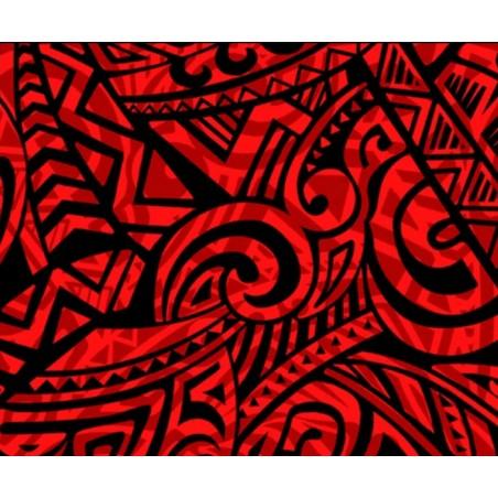 Tissu au Mètre Double Tatoo Red Black 65% Polyester - 35% Cotton Largeur 110 cm