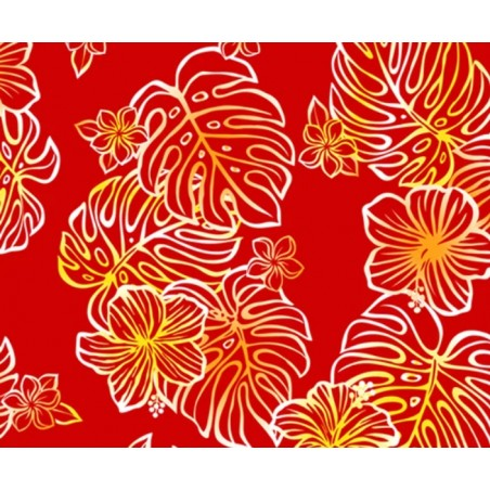 Tissu au Mètre Hibiscus Montera Red 65% Polyester - 35% Cotton Largeur 110 cm