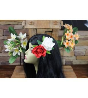 Pince Poara, Composition Florale Roses Feuilles  16.5x11.5 cm