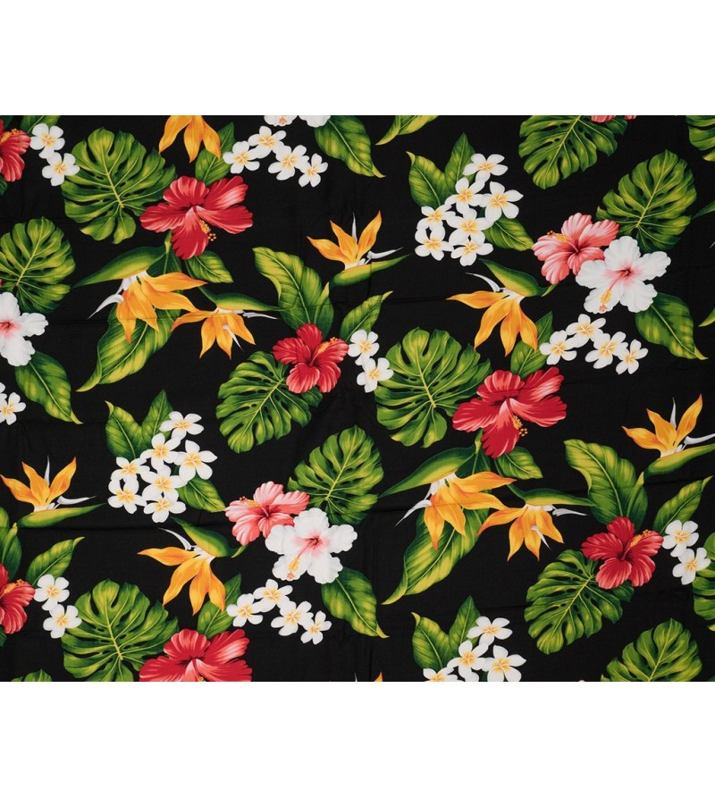 Tissu au Mètre Exotic Flower Black  100% Rayon Poplin Largeur 150 cm