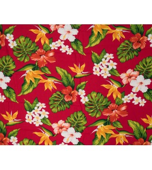 Tissu au Mètre Exotix Flower Red 100% Rayon Poplin Largeur 150 cm