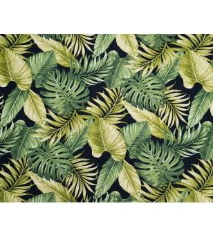 Tissu au Mètre Tropical Forest Black 66% Rayon 34% Coton Largeur 150 cm