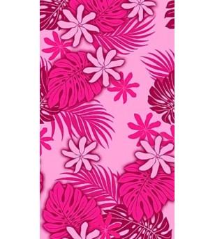 Tissu au Mètre Tiaré Monstera Fushia 65% Polyester - 35% Cotton Largeur 110 cm