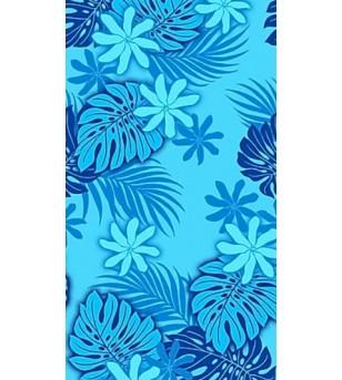Tissu au Mètre Tiaré Monstera Bleu 65% Polyester - 35% Cotton Largeur 110 cm