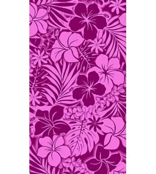 Tissu au Mètre Hibiscus Tiaré Purple 65% Polyester - 35% Cotton Largeur 110 cm