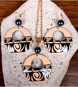 Parure Collier Boucle d'oreille Acrylique Plaqué Or avec Perle