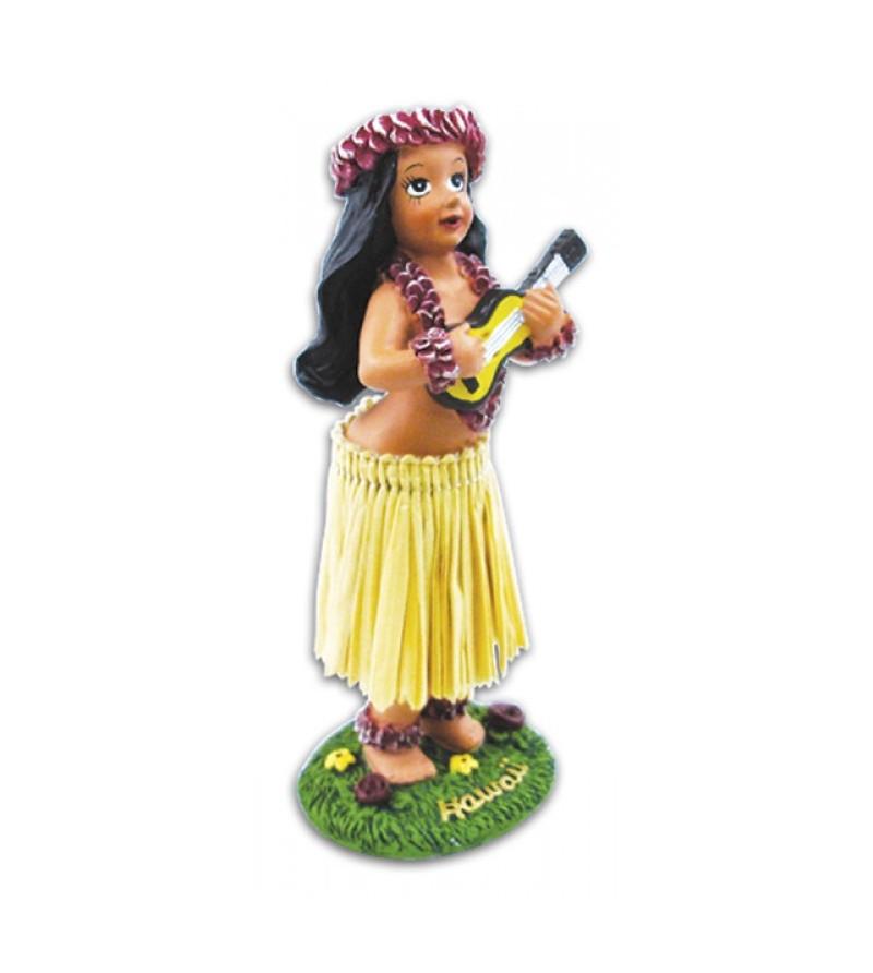 Miniature Dashboard Dolls - Hula Girl W Ukulele 10X4.5