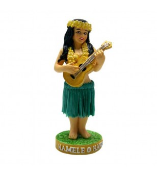 Miniature Dashboard Dolls - Hula Girl W Ukulele 10X4.5