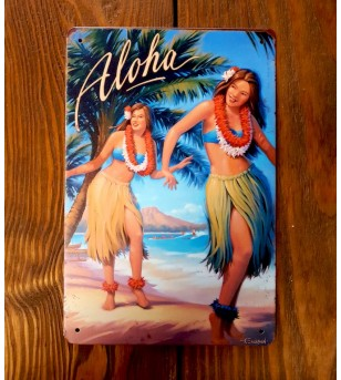Plaque Métal Surf, Hawaii, Vintage 20*30