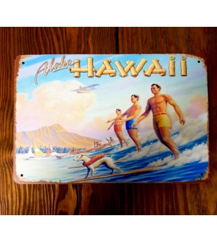 Plaque Métal Surf, Hawaii, Tiki, Vintage 20*30