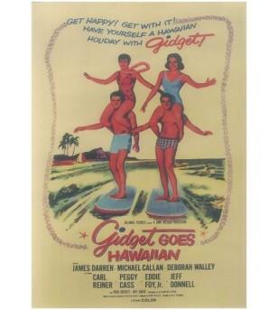 Affiche Papier Craft Hawaii, Surf, Tiki, Voyage, Vintage  42*30cm