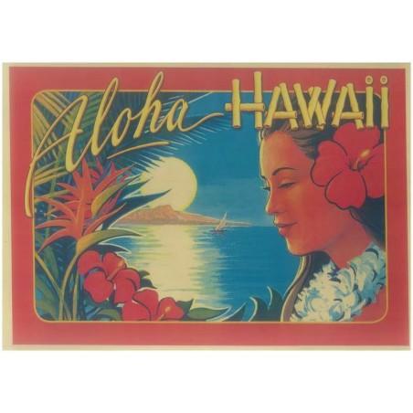 Affiche Papier Craft Hawaii, Surf, Tiki, Voyage, Vintage  30*42cm